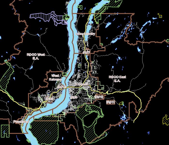 Map Of Canada Showing Kelowna.Regional District Of Central Okanagan